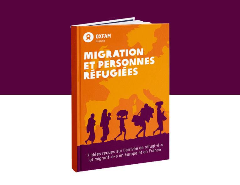 """Couverture du ebook """"Migration et personnes réfugiées"""". Sous-titre : 7 idées reçues sur l'arrivée de réfugi-é-s et migrant-e-s en Europe et en France"""