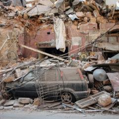 Beyrouth, détruites par une explosion. Les équipes d'Oxfam se mobilisent sur place. Crédit : Hasan ShaabanBloomberg via Getty Images